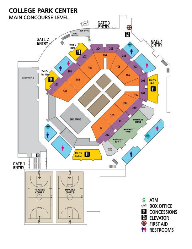 Concourse map with concession stand locations