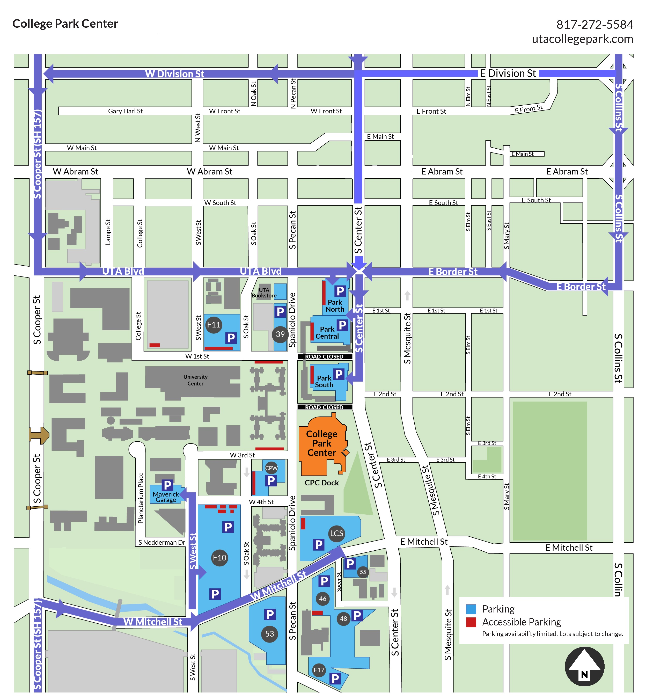 UTA Commencement Parking Map