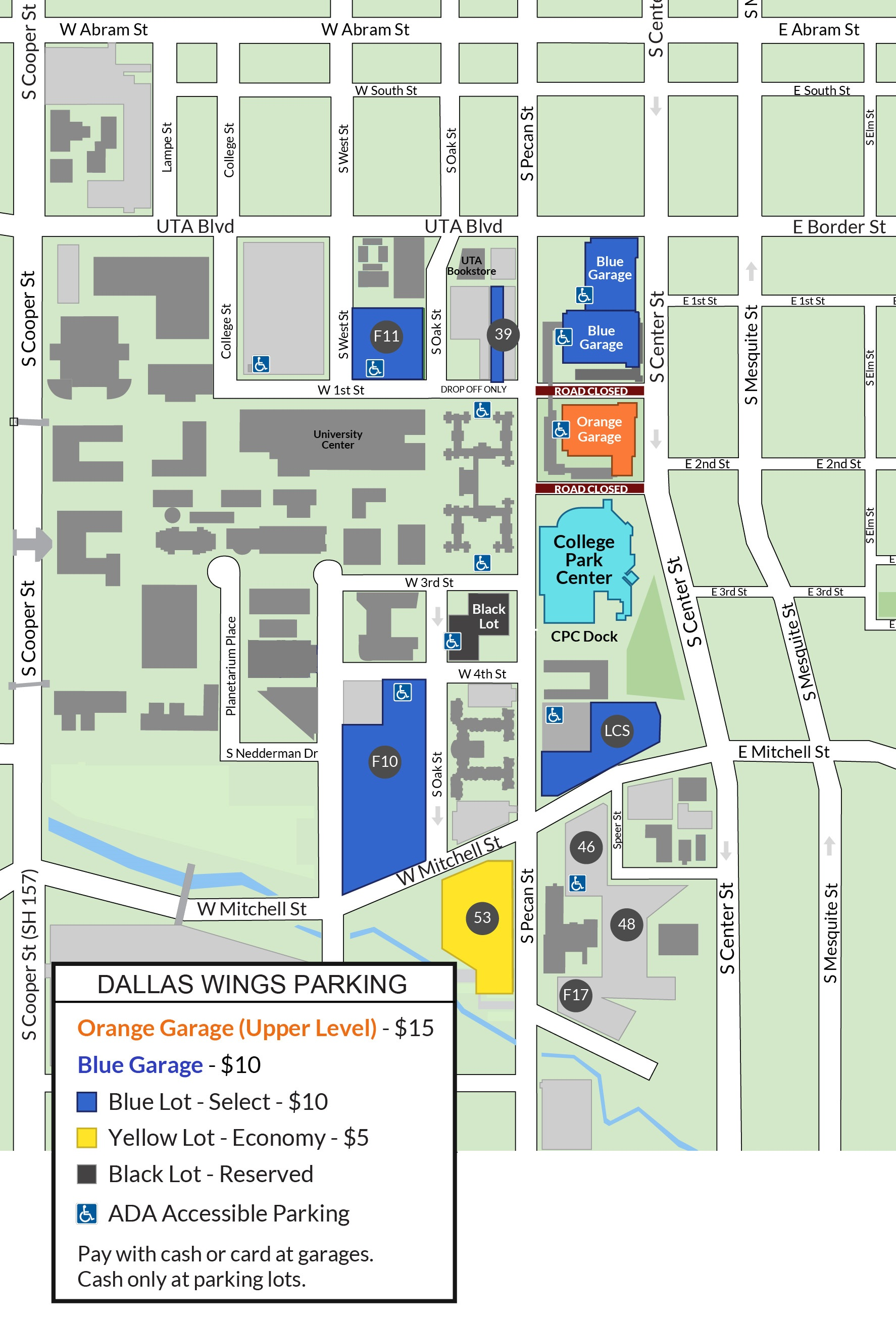 Map Of Texas Arlington.Nca Cheer Parking Map And Directions College Park Center The